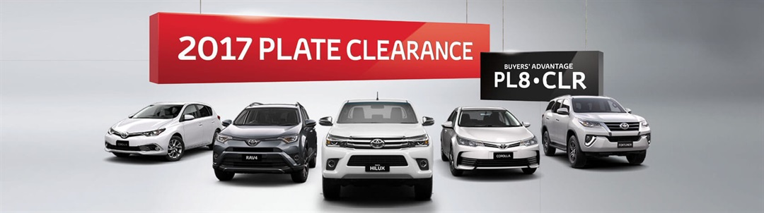2017 Plate Clearance at Clintons Toyota