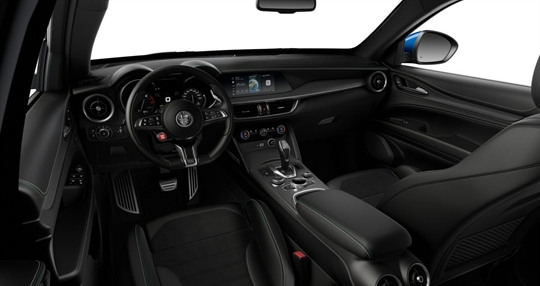 Black Leather & Alcantara Seats with Green and White Stitching g Cockpit