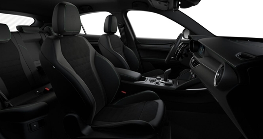 Black Leather & Alcantara Seats with Green and White Stitching Seats