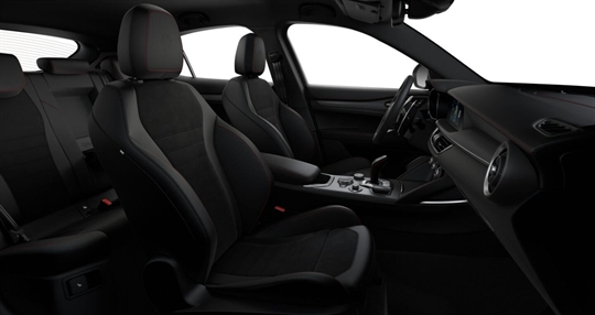 Black Leather & Alcantara Seats with Red Stitching Seats