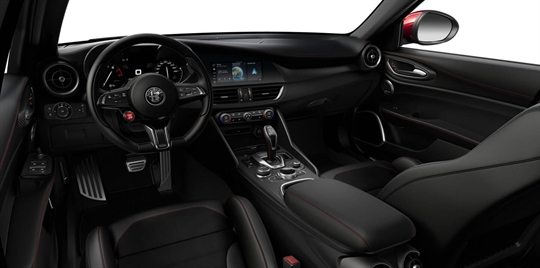 Black Leather & Alcantara Seats with Red Stitching and Black Lower Dash - Cockpit