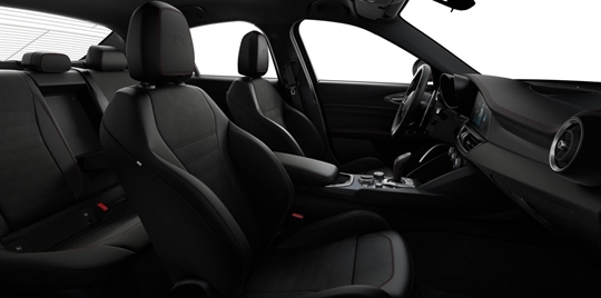 Black Leather & Alcantara Seats with Red Stitching and Black Lower Dash- Seats