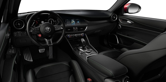 Black Leather & Alcantara Seats with Green Stitching and Black Lower Dash - Cockpit