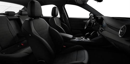 Black Leather & Alcantara Seats with Dark Grey Stitching and Black Lower Dash - Seats