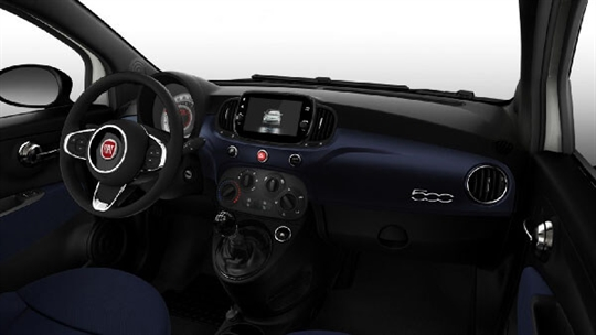 Fiat Monogram Blue Fabric Seats with Techno Blue Dashboard and Black Ambience - Dash