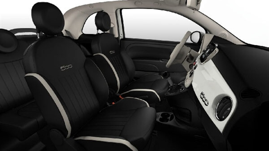 Black Leather Seats with Ivory Inserts and Ivory Ambience - Seats