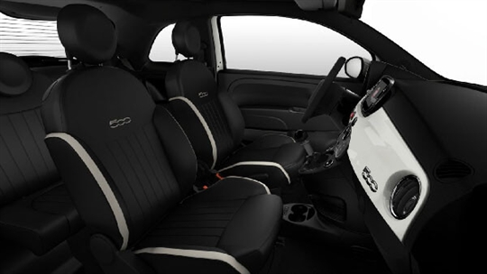 Black Leather Seats with Ivory Inserts and Black Ambience - Seats