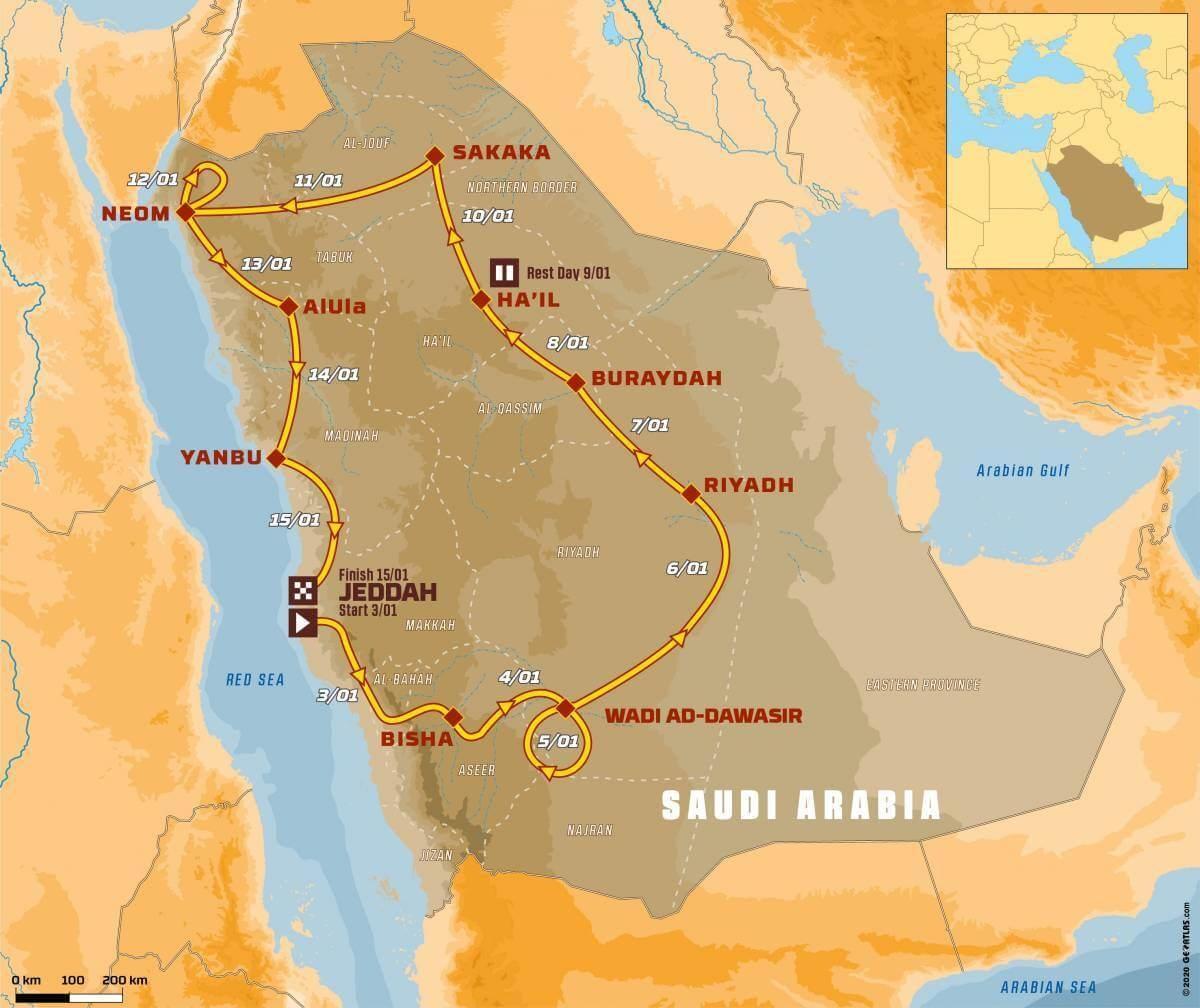 Dakar Rally 2021 Route in Saudi Arabia