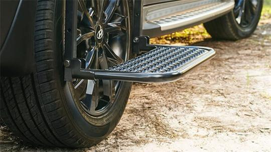 Rear wheel side step.