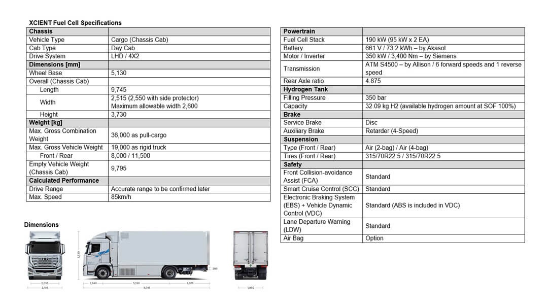 XCIENT Fuel Cell Specifications