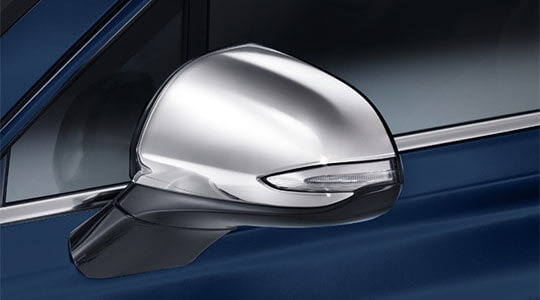Chrome door mirror caps.