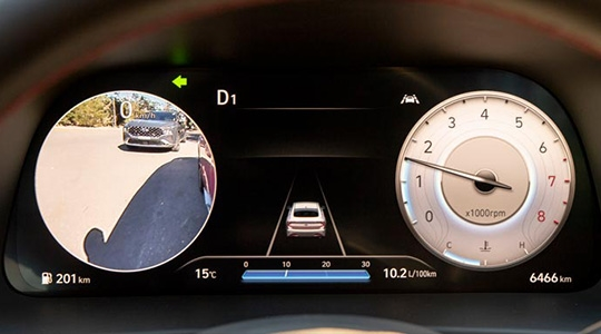 """12.3"""" TFT-LCD Supervision Cluster with Blind Spot View Monitor (BVM)."""