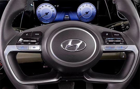 Steering wheel-mounted controls.