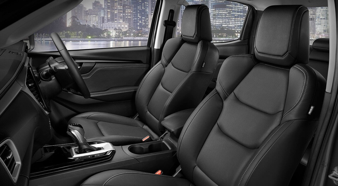 Heated front seats trimmed with black leather-accented upholstery within the new D-MAX LS-U+ Crew Cab Ute 4x4 Auto