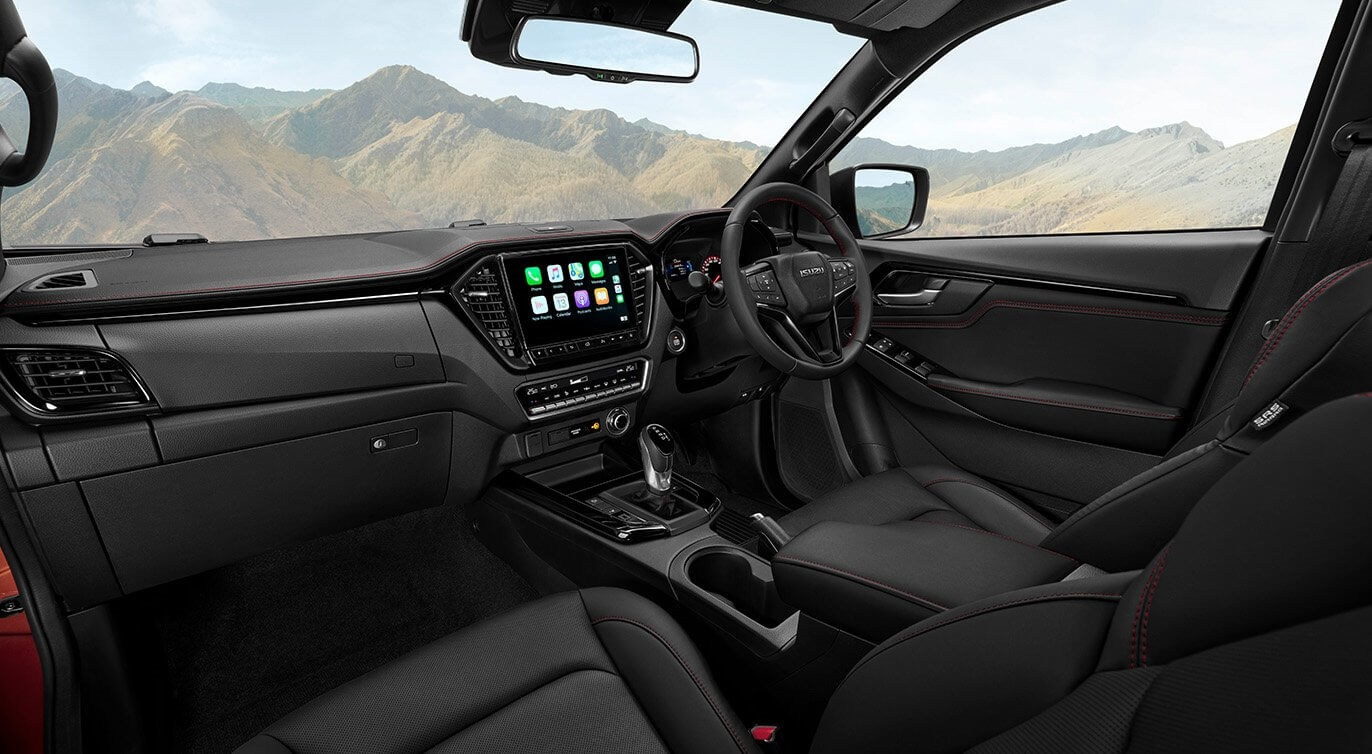 22MY D-MAX X-TERRAIN interior highlighted with bold black and red accents