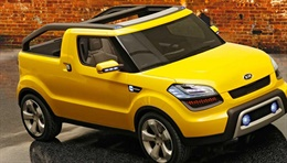 Soul'ster(KCD-5) - The concept Soul'ster is a Soul based 4 seat MPV with an open, canvas roofed top. Designed to be both vibrant and sporty, it appeals to active, young people looking for fun. The South East Automotive Media Organization of the U.S.