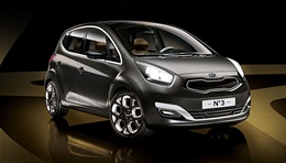 Kia N° 3(KED-6) - The car brings all the features and strengths of a highly versatile MPV into the urban compact class, combining up-to-date mobility with individual style. An extra-large panorama glass roof extends directly out of the windscreen and