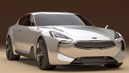 Kia GT(KED-8) - The GT is drawn from the idea of a grand touring car that can serve as both a luxury sport sedan and high performance vehicle suitable for long range road trips. The radiator grill sharing Kia's family look and the powerful looking LE