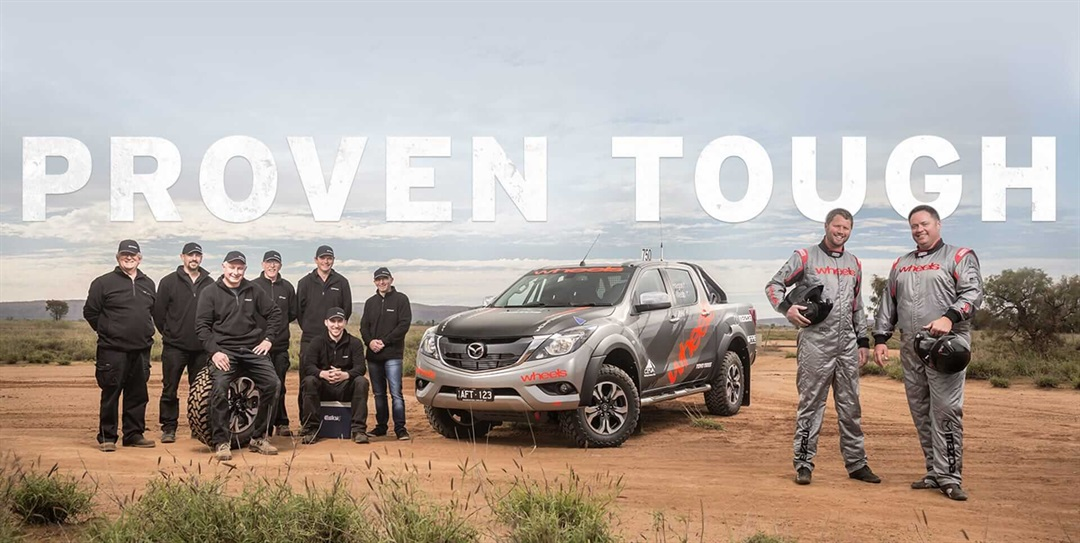 the finke 2016 race team pictured in front of the bt 50 ute