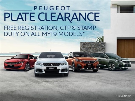 PEUGEOT PLATE CLEARANCE
