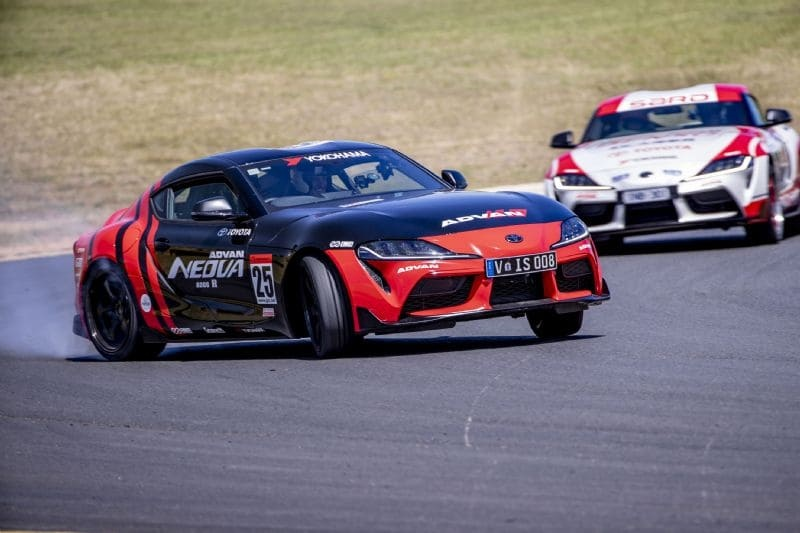 Aussie Drift champion Beau Yates (front) and Japanese Drift King Keiichi Tsuchiya testing the GR Supra ahead of this weekend's World Time Attack Chall