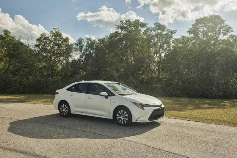 The all-new Toyota Corolla sedan will be offered with a hybrid powertrain for the first time in Australia (overseas vehicle shown)