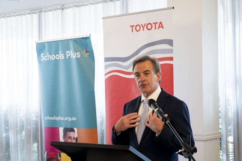 Matthew Callachor, President and CEO of Toyota Motor Corporation Australia speaking at the Schools Plus Scholarship Program Presentation Ceremony.