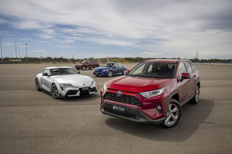Toyota RAV4 Hybrid (front) has won the 2020 Drive Car of the Year with (f-b) GR Supra, Camry Hybrid and LandCruiser 200 also taking category wins