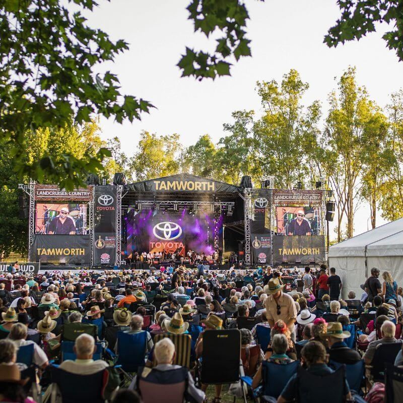 The crowd enjoys a performance at the 2019 Toyota Country Music Festival in Tamworth