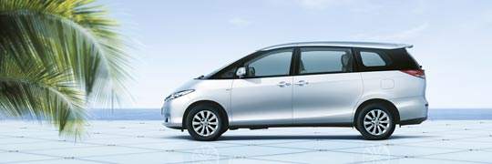 Fergusons Toyota Tarago Exterior Side with Stylish & Aerodynamic Mono-Form Design