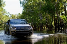 Volkswagen wading through a forest river