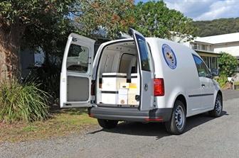 Volkswagen Caddy with back doors open