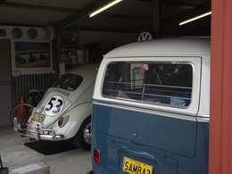 Cars inside Andy's garage