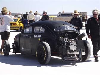Black car on Lake Gairdner