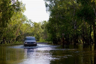 Volkswagen vehicle wading through a river