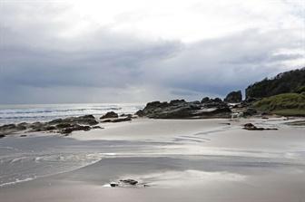 Oceanic lookout over rocks